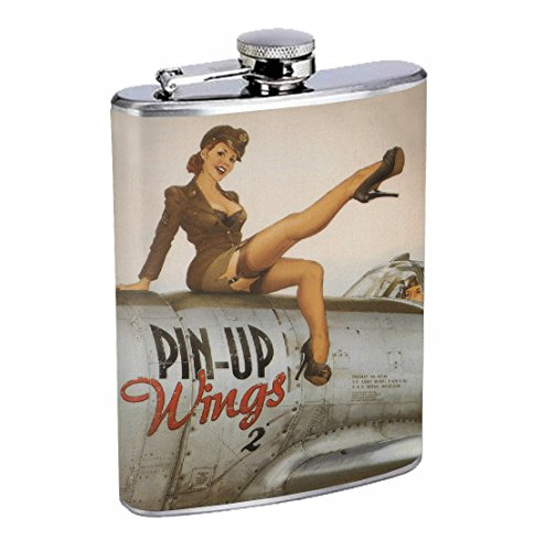 Pinup Wings Sexy Girl WWII Vintage 8oz Stainless Steel Flask Drinking Whiskey]()