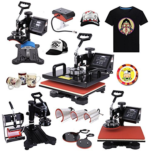 Ridgeyard 1000W Digital LCD Display Multi-functional Transfer Sublimation T-Shirt Mug Hat Plate Cap Heat Press Machine (8 in 1 machine) by Ridgeyard