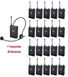 EXMAX UHF-938 Professional UHF Wireless Tour Guide System for Tour Guiding, Teaching, Travel, Field Interpretation - 1 Transmitter and 20 Receivers