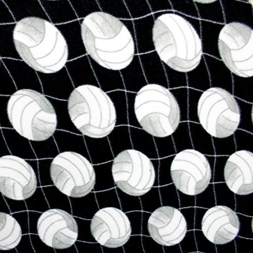 Volleyball Net Black Premium Anti Pill Print Fleece Fabric, 60 Inches Wide - Sold By The Yard by Fabric Bravo
