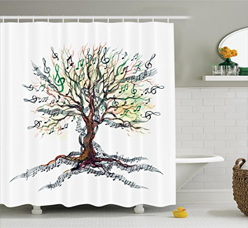 Music Themed Christmas Trees - Tree Shower Curtain Set Music Decor By Ambesonne, Musical Tree Autumn Clef Trunk Swirl Nature Illustration Leaves Creative Design, Fabric Bathroom Accessories Set with Hooks, 69W X 70L Inches