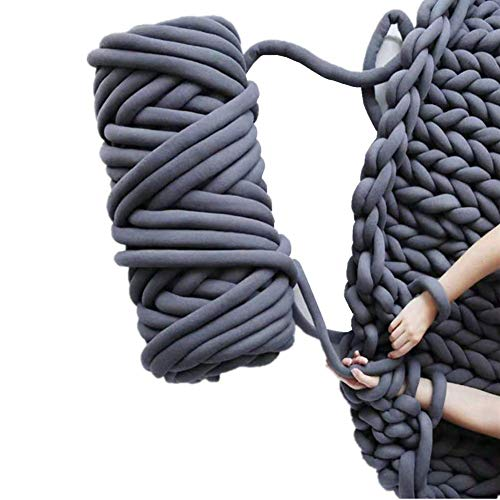 Chunky Yarn Chunky Merino Wool Yarn Super Soft Washable Super Bulky Giant Wool Yarn for Extreme Arm Knitting DIY Throw Sofa Bed Blanket Pillow Pet Bed and Bed Fence (1kg (2.2lbs), Dark Grey)