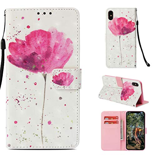 iPhone Xs Max Case, Mavis Diary Fashion Design Shiny Gemstone Rhinestone Transparent Colorful Painted Pink Flower Shockproof Silicone TPU Rubber Cover Body Slim Cover - Pink Flower