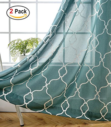 Miuco Moroccan Embroidered Semi Sheer Curtains Faux Linen Grommet Window Panel Pair for Bedroom 52 x 63 Inch, Teal