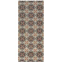 26 x 48 Cushioned Non-Slip/Rubber Medallion Trellis Design Brown Color Aqua Runner/Doormat (easy cut to fit in your Hallway, Bathroom, or Kitchen with scissors) AQ4007-01-2X4