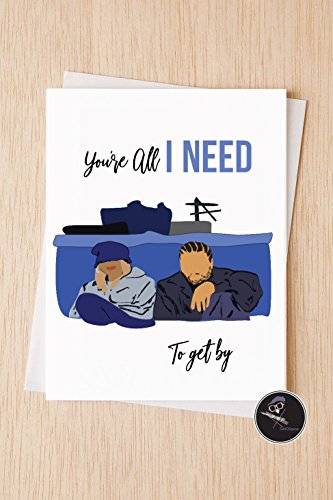 Sweet Modern Love Card, You're All I Need To Get By, 90's Classic Rap R&B Vintage Valentines day Card for Husband, Love Card - Rb Buy