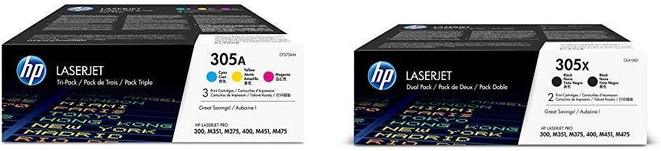 HP 305A (CF370AM) Cyan, Magenta & Yellow Original LaserJet Toner Cartridges, 3 pack and HP 305X (CE410XD) Black High Yield Original LaserJet Toner Cartridges, 2 pack Bundle