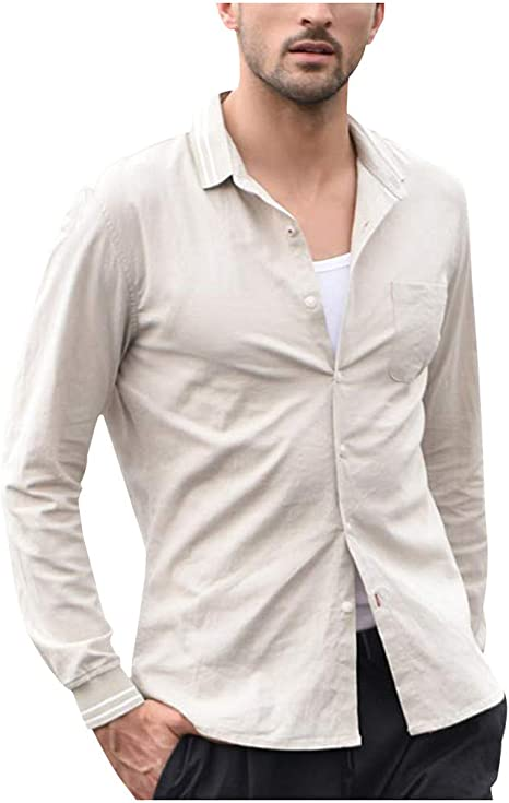 Mens Summer Retro Casual Long Sleeve Linen Cotton Botton Tops Shirts Tee Holiday
