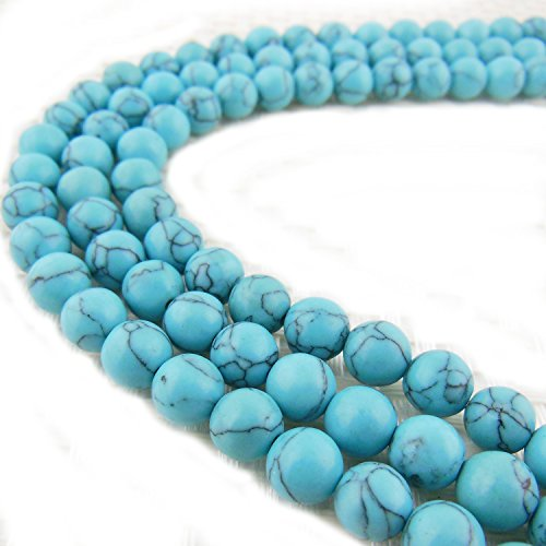 2 Strands 8MM Synthetic Turquoise Stone Gem Round Loose Stone Beads for Jewelry Making&DIY&Design (RS-1013-8)