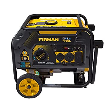 Firman H03652 4550/3650 Watt Recoil Start Gas or Propane Dual Fuel Portable Generator CARB and cETL Certified with Wheel Kit, Black