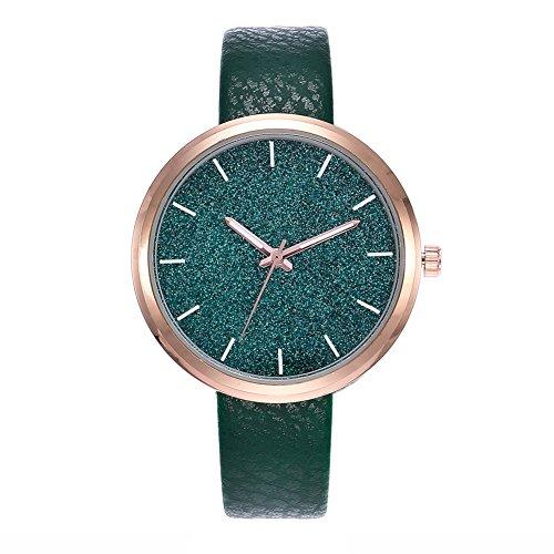 Luxsea Starry Watch Women Men Sequins Moon Clock Hands Faux Leather Quartz Wrist Watch