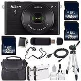 Nikon 1 J4 Mirrorless Digital Camera with 10-30mm Lens (Black) (International Model No Warranty) + EN-EL22 Battery + 96GB Total Memory + 16GB SDHC Memory Card + 6AVE Bundle