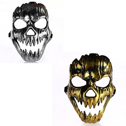 [Dongcrystal Golden/Silver Halloween Ancient Greece Bacchus Mask Mardi Gras Prom Cosplay Masks,2Pcs] (Smiley Horror Mask)