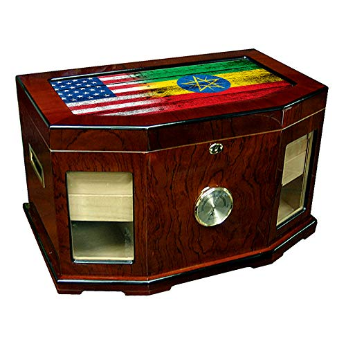 Ethiopian Wood - Large Premium Desktop Humidor - Glass Top - Flag of Ethiopia (Ethiopian) - Wood with USA Flag - 300 Cigar Capacity - Cedar Lined with Two humidifiers & Large Front Mounted Hygrometer.