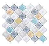 steam resistant adhesive - White Turquoise Arabesque Peel and Stick Tile Backsplash, Smart Anti-Mold Backsplash Peel and Stick,Self Adhesive RV Kitchen Mosaic Backsplash Tiles 10