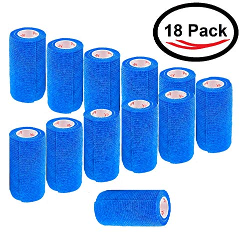 4 Inch Self Adhesive Medical Bandage Wrap Tape (Blue) (18 Pack) Strong Elastic Self Adherent Cohesive First Aid Sport Flex Rolls for Wrist Ankle Knee Sprains and Swelling