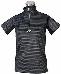TuffRider Ladies Black Diamond Mock Zip Short Sleeve Polo Shirt (1X)
