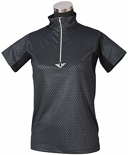 Womens Technical Mock Shirt - TuffRider Ladies Black Diamond Mock Zip Short Sleeve Polo Shirt (XS)