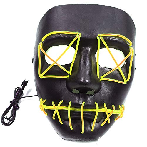 Neon Nightlife Men's Light up Mask(yellow-18189cm/power Switch Button) -