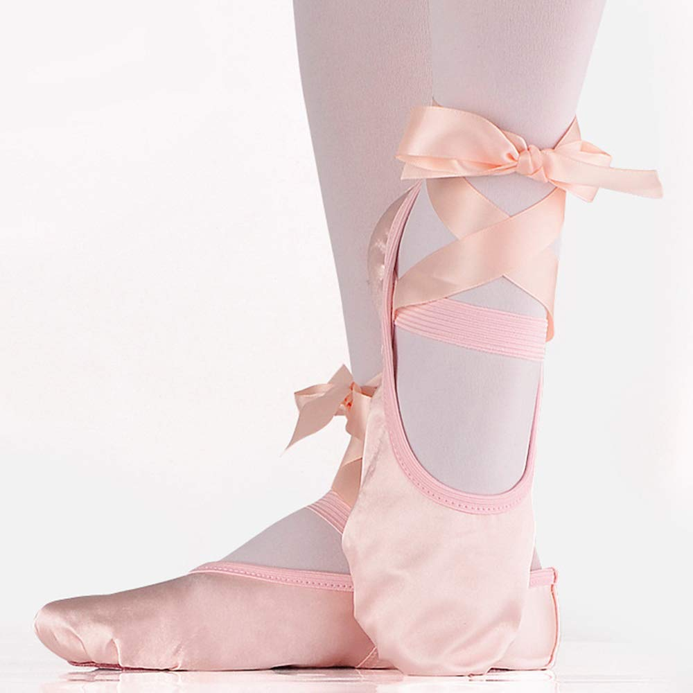 Chaussure de Danse Yoga Gymnastique Chaussons Ballerine avec Ruban Satin pour Filles Femmes SONSYON Chaussure de Ballet