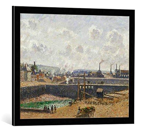 (kunst für alle Framed Art Print: Camille Pissarro Dieppe Bassin Duquesne Maree Basse Soleil Matin - Decorative Fine Art Poster, Picture with Frame, 27.6x21.7 inch / 70x55 cm, Black/Edge Grey)