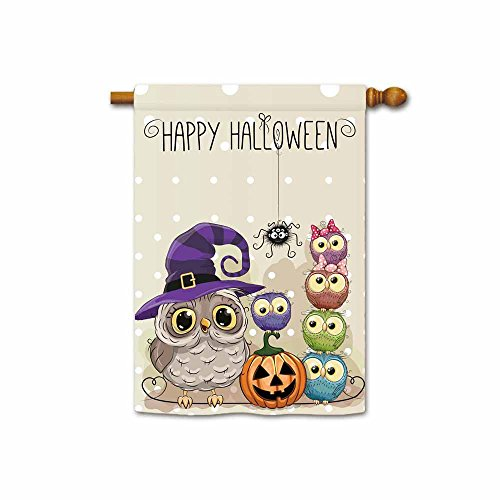 Kafepross Halloween Six Owls and Pumpkin House Flag 28