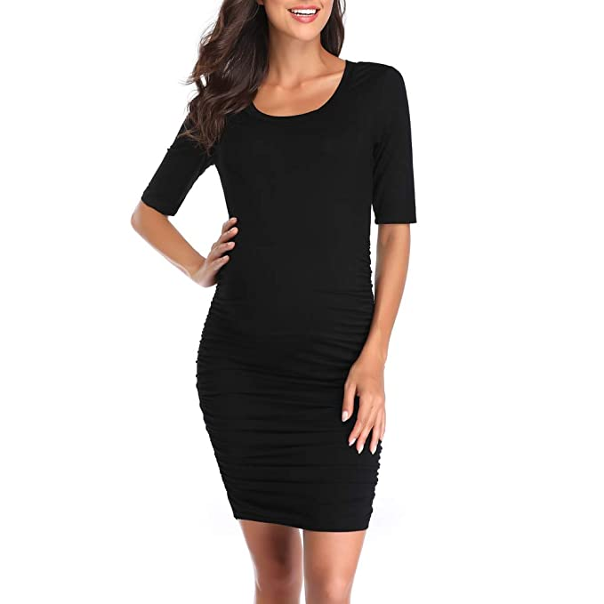 fab551116c535 Derssity Women Maternity Dress Half Sleeve Ruched Pregnancy Dresses Clothes (Black