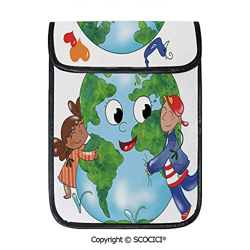 - SCOCICI Simple Protective Two Cute Kids Hugging Happy Planet Earth Bird and Hearts Embracing in Cartoon Style Decorative Pouch Bag Sleeve Case Cover for 12.9 inches Tablets