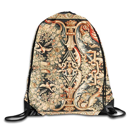 (Antique French Gobelins Aubusson Tapestry Gym Bag Travel Drawstring Backpack Bag Sackpack Rucksack Gift Men & Women Sport Bag)