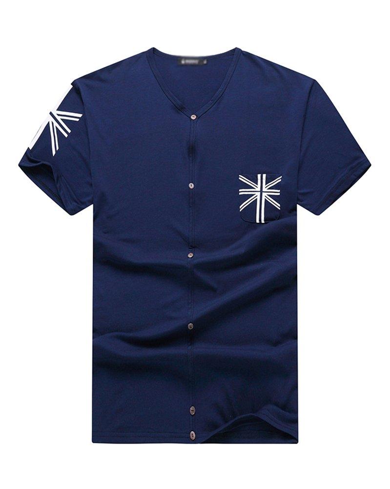 Camiseta de manga corta para hombre Polo Camiseta Cuello en V ...