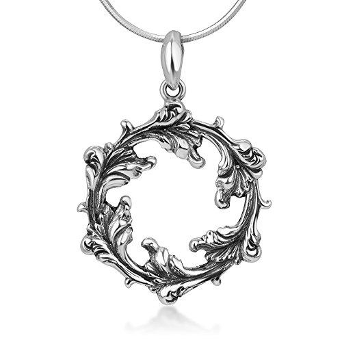 Chuvora 925 Sterling Silver Open Filigree Divine Leaf Leaves Vine Round Vintage Pendant Necklace ()