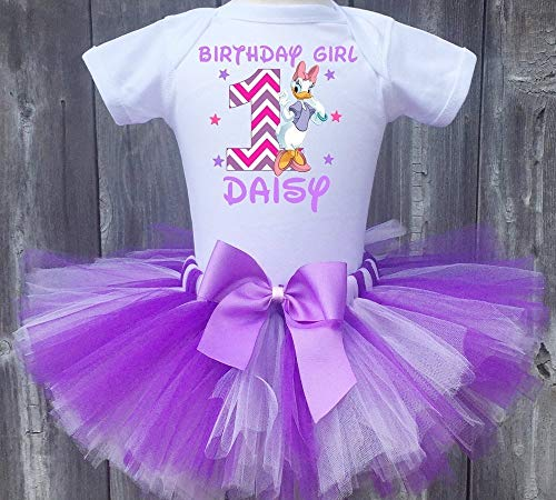 (Daisy Duck Personalized Birthday Outfit Tutu Set)