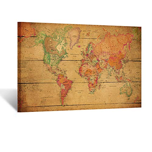 Kreative Arts - Large Size World Map Wall Art Framed Art Print Picture Wall Decor Home Interior - Map Picture for Office Wall Decor 48x32inch (Stretched Canvas)