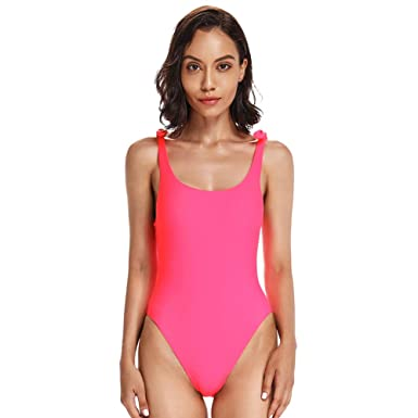 c8f6b5b355d Dixperfect Women's Trendy High Cut One Piece Swimsuit Low Back Bathing Suit  Self-Tie Bowknot in Shoulder Straps at Amazon Women's Clothing store: