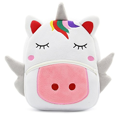 White Dolphin Cute Toddler Backpack,Cartoon Cute Animal Plush Backpack Toddler Mini School Bag for Kids Age 1-3 Years Old(unicorn), Small
