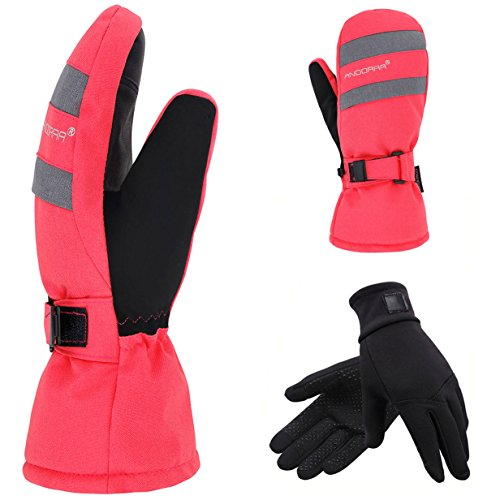2-in-1 Touch Screen Winter Ski Mitts + Liner Gloves, 3M Thinsulate, Hidden Pocket, Pink, M