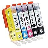 Buyalot 1 Set 5 Color Replacement for HP 564XL Ink Cartridges HP Photosmart 5520 6520 6510 7510 7520 7515 C6380 C310a 5514 5515 5510 6515 6512 (1BK 1PBK 1C 1M 1Y)