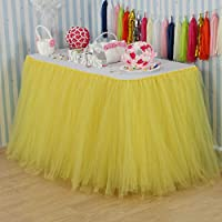 vLovelife 100cm Yellow Tulle Tutu Table Skirt Tableware TableCloth Party Baby Shower Birthday Wedding Decorations Favor Customized Size Available