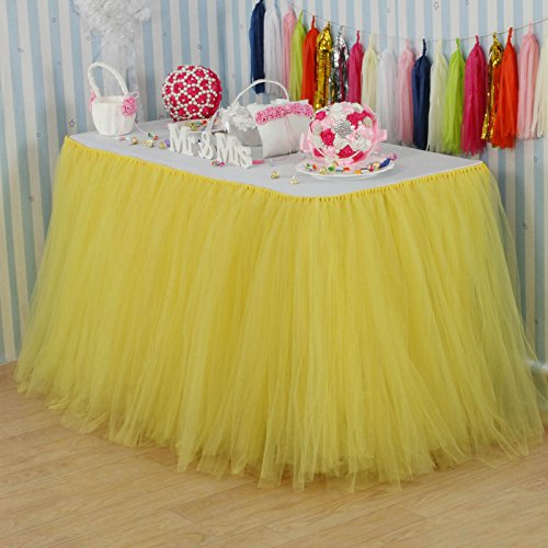 vLovelife 100cm Yellow Tulle Tutu Table Skirt Tableware TableCloth Party Baby Shower Birthday Wedding Decorations Favor Customized Size Available ()