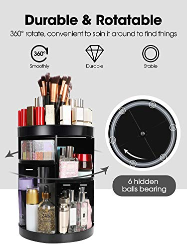 Kootek Rotating Makeup Organizer – 360 Spinning Makeup Storage Rack Adjustable Swivels Cosmetic Organizers Large…