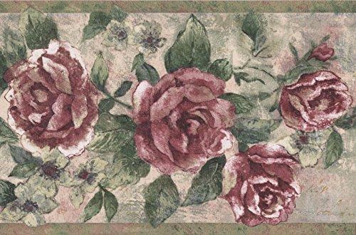 Vintage Bloomed Magenta Pink Roses on Vine Wallpaper Border Retro Design, Roll 15' x 9