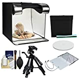 "Smith-Victor 24"" Desktop LED Light Box Studio Tent with Turntable, 4 Backgrounds & Case with Macro Tripod + Cleaning Kit"