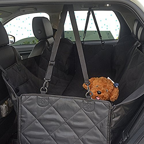 YOH Dogs Car Seat Cover with Seat Anchors, Waterproof Nonslip Washable Pet Backseat Protector, Durable Zippered Side Flap+Extra Pockets+Dogs Seat Belt, Pet Hammock Seat Covers for Cars Trucks SUVs
