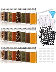 Aozita 24 Pcs Glass Spice Jars/Bottles - 6oz Empty Square Spice Containers with Spice Labels - Shaker Lids and Airtight Metal Caps - Silicone Collapsible Funnel Included