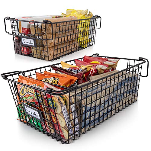 Gorgeous Stackable XL Wire Baskets For Pantry Storage and Organization – Set of 2 Pantry Storage Bins With Handles…