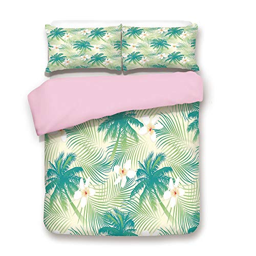 /FULL Size/Oceanic Island Palm Tree Leaves with Papaya Crepe Ginger Flowers Art Print Decorative/Decorative 3 Piece Bedding Set with 2 Pillow Sham/Best Gift For Girls Women/Light G ()