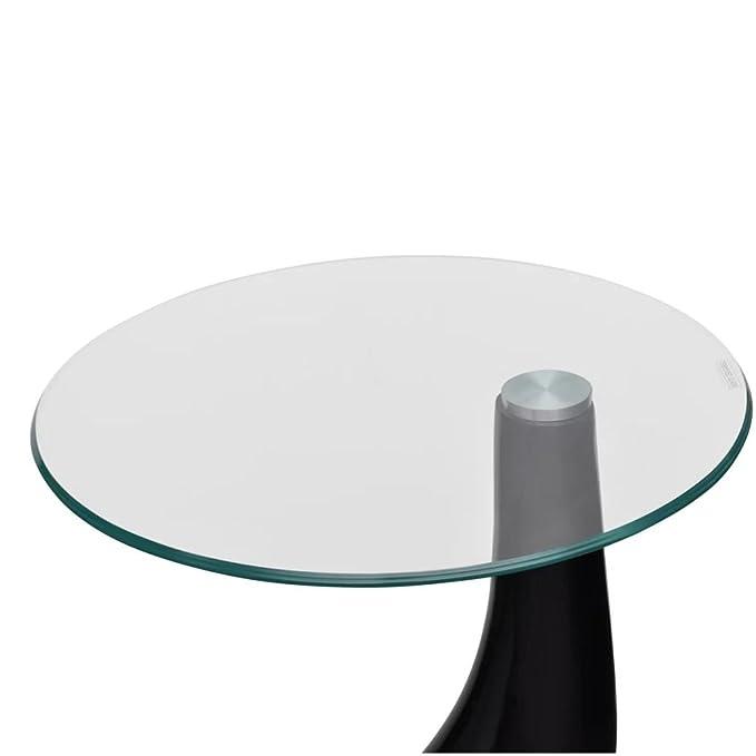 vidaXL 2x Couchtisch Runde Glasplatte Hochglanz-Grau Beistelltisch Wohnzimmer