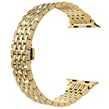 Wearlizer Gold Bling Compatible for Apple Band 42mm 44mm Crystal Rhinestone Diamond for iWatch Luxury Stainless Steel Strap Wristband Replacement Bracelet (Metal Buckle) Series 4 3 2 1 Sport Edition