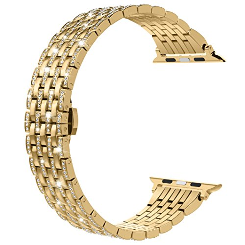Gold Diamond Belt Buckle - Wearlizer Gold Bling Compatible with Apple Band 42mm 44mm Crystal Rhinestone Diamond for iWatch Luxury Stainless Steel Strap Wristband Replacement Bracelet (Metal Buckle) Series 4 3 2 1 Sport Edition
