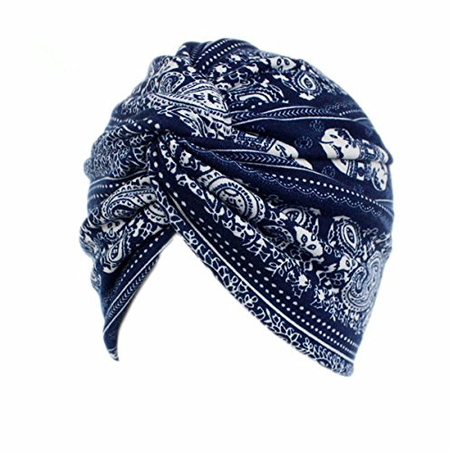 Qhome Vintage Turban Hat Stretch Snood Cap Chemo Cap Hawaiian Tropical Flower Print Skull Cap Hair Wrap Soft Turban Packable Doo Rag